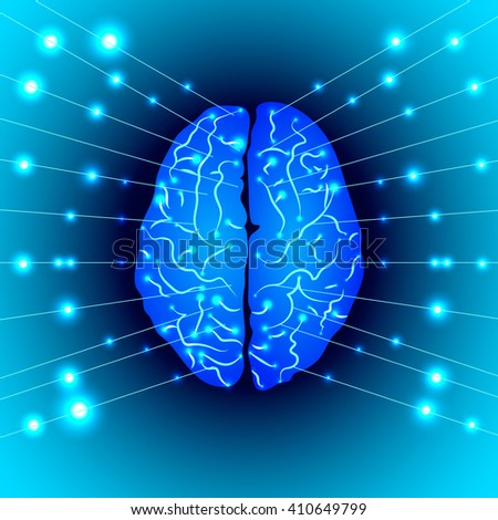 The silhouette of the brain with impulses. Vector illustration