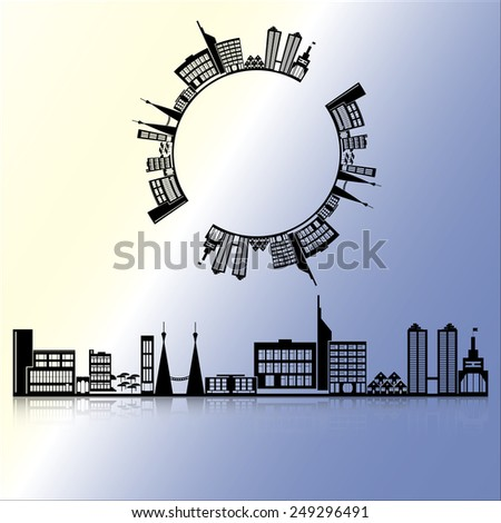 The silhouette of the city at night with the reflected shadow - stock vector