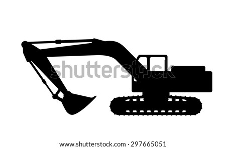 The silhouette of the excavate on a white background. - stock vector