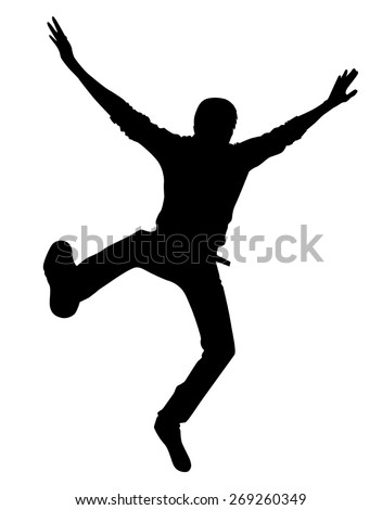 the silhouette of the guy jumping on white background vector