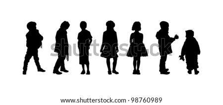 The silhouettes of boys and girls of preschool age - stock vector