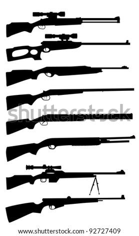 the silhouettes of the Hunting rifle - stock vector