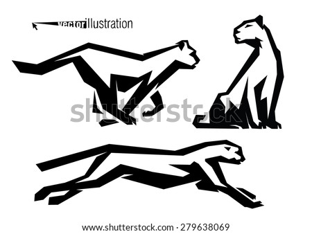 The silhouettes of wild cats. Logo style. - stock vector