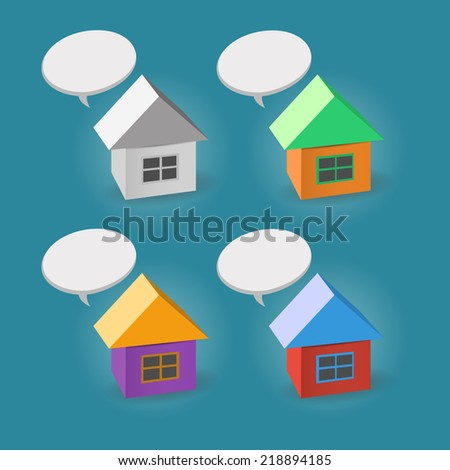 The simple color house icons isolated on the white background