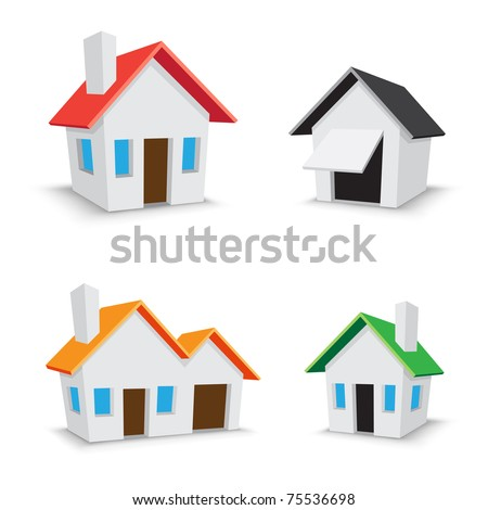 The simple color house icons isolated on the white background - stock vector