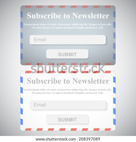 The Simple Gray Subscribe to Newsletter Form. Postage Envelope Web Site Design. - stock vector