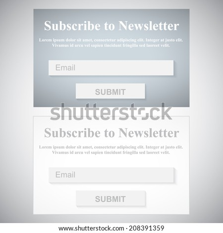 The Simple Gray Subscribe to Newsletter Form. Web Site Design. - stock vector
