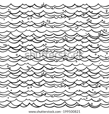 The simple one color illustration of cartoon water. Seamless background. Vector fantasy pattern with marine motive. Sea or ocean theme