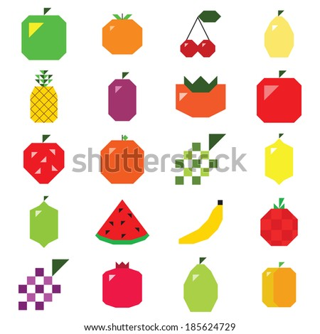 The simple pixel fruits set on the white background