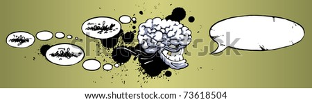 The sinister big-brain monster with the gold tooth is talking something ominous. - stock vector