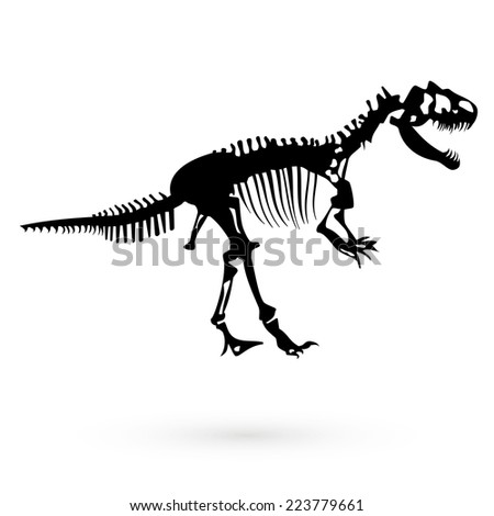 The skeleton of a dinosaur. Vector - stock vector
