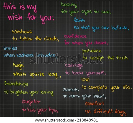 The sketched words of happiness - stock vector