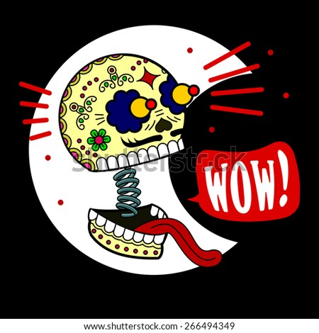 "the skull jaw dropped on a spring. surprise, he exclaims: ""Wow!"" - stock vector"
