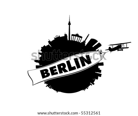 The skyline of Germany's capital Berlin in semi-stereographic projection looks like a small planet. An airplane with a white banner is flying by in the foreground. - stock vector