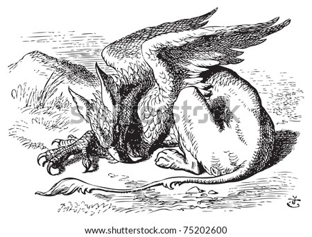 The Sleeping Gryphon - Alice in Wonderland original vintage engraving. They very soon came upon a Gryphon, lying fast asleep in the sun. Illustration from John Tenniel, published in 1865. - stock vector