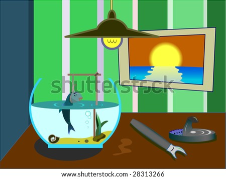 The small fish was hung up in an aquarium - stock vector