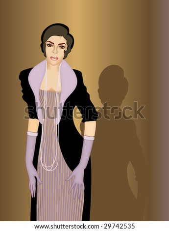The smart brunette in lilac gloves. vector