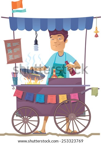 The smiling young asian cook is preparing the tasty vegetarian rice on his outdoor mobile street kitchen. He is looking at camera. The hieroglyphs in the menu are only stylization.