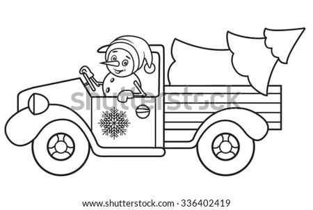 The snowman carries a Christmas tree in the truck. Color vector illustration
