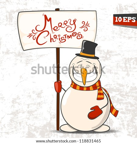 The snowman with the tablet. Vector illustration 10 eps - stock vector