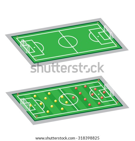 The soccer-football field, empty and with tactic scheme on a white background - stock vector