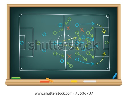The soccer tactic strategy on the school blackboard - stock vector