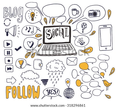 The Social Media background. The creative hand drawn collection of conversation, sharing and network for your design. - stock vector