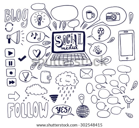 The Social Media background with computer, mobile phone, speech bubbles and other elements. The creative hand drawn collection of conversation, sharing and network for your design. - stock vector