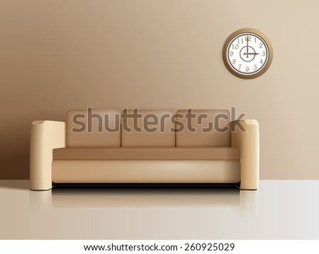 The sofa in the room and the clock on the wall, in the style of realism  - stock vector