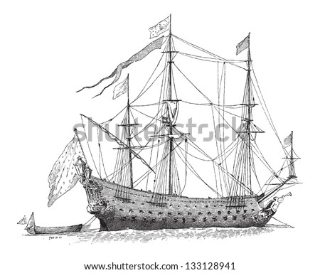 The Soleil-Royal, French Ship, during the 17th Century, vintage engraved illustration. Dictionary of Words and Things - Larive and Fleury - 1895 - stock vector