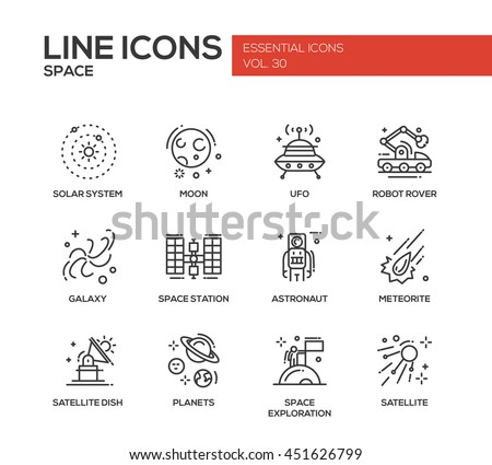 The Space - modern vector plain simple line design icons and pictograms set. Solar system, moon, ufo, robot rover, galaxy, space station, astronaut, meteorite, satellite, planets exploration - stock vector