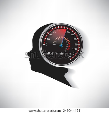 The speed of the human brain compared to car speedometer vector - stock vector
