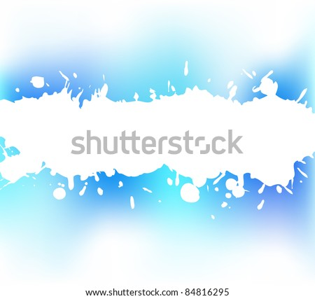 The splash of a white paint on a blue background