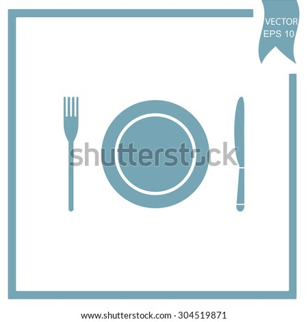 The spoon, fork and plate. Cooking symbol.