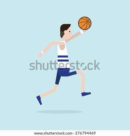 The sportsman is playing basketball. Vector illustration flat style.