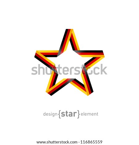 The star from ribbon with Germany flag colors - stock vector