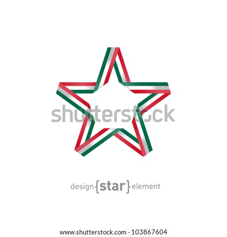 The star with Mexico flag colors vector design element