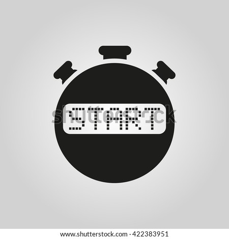 The start stopwatch icon. Clock and watch, timer, countdown symbol. UI. Web. Logo. Sign. Flat design. App. Stock vector - stock vector