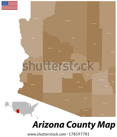 The state of Arizona with all counties and cities. - stock vector