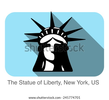 The Statue of Liberty, New York, US, landmark flat icon design - stock vector