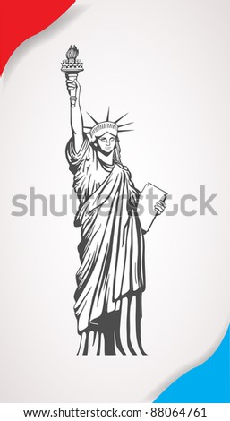 The Statue of Liberty. Vector illustration - stock vector