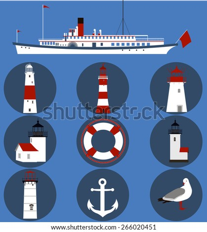 the steamer, lighthouses, Seagull and lifeline - stock vector