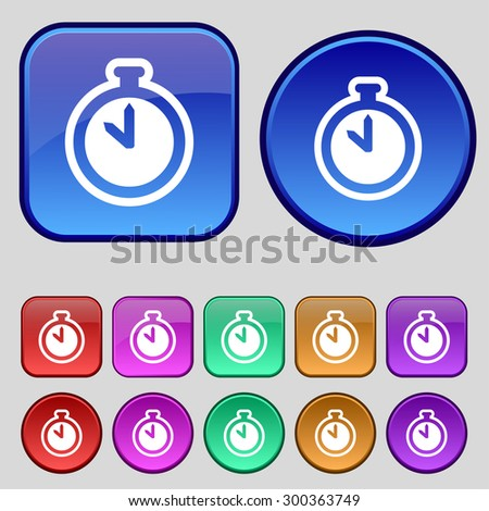 The stopwatch icon sign. A set of twelve vintage buttons for your design. Vector illustration - stock vector