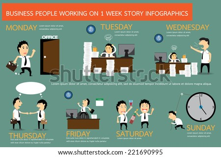 The story of businessman working on 1 week in infographic form, vector illustration. - stock vector