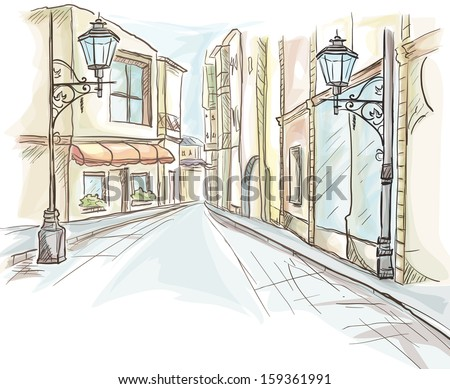 The street of the city daily with lanterns. - stock vector