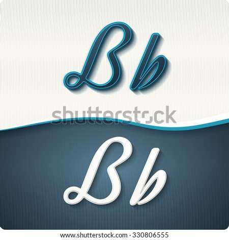 """The stylish white and blue italic letters of the alphabet, three-dimensonail, with shadows. The capital letters """"B"""" and lowercase """"b."""" Set, vector EPS10. - stock vector"""