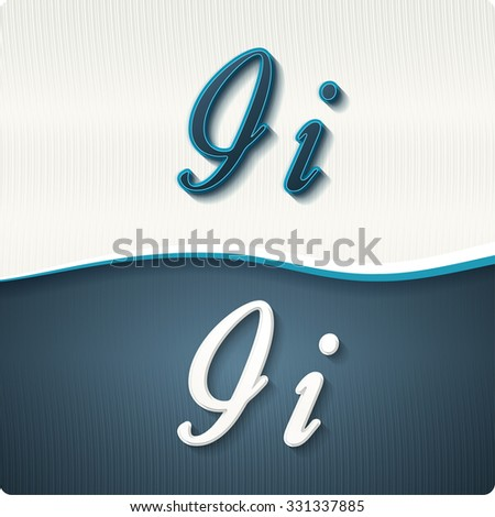"""The stylish white and blue italic letters of the alphabet, three-dimensonail, with shadows. The capital letters """"I"""" and lowercase """"i."""" Set, vector EPS10. - stock vector"""