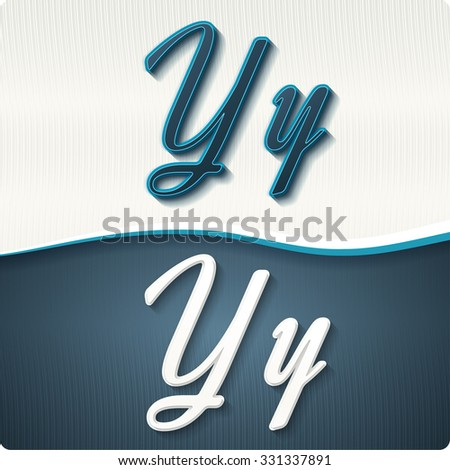"""The stylish white and blue italic letters of the alphabet, three-dimensonail, with shadows. The capital letters """"Y"""" and lowercase """"y."""" Set, vector EPS10. - stock vector"""