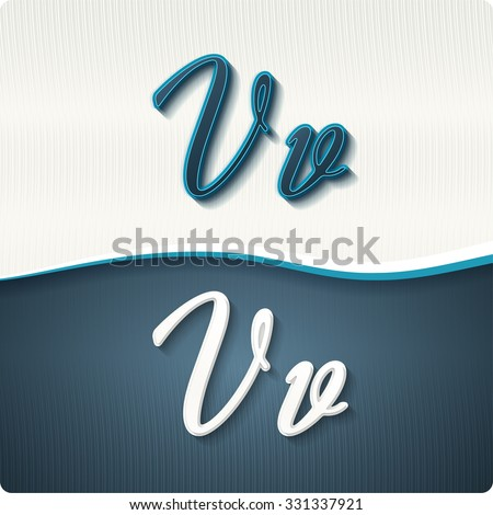 """The stylish white and blue italic letters of the alphabet, three-dimensonail, with shadows. The capital letters """"V"""" and lowercase """"v."""" Set, vector EPS10. - stock vector"""