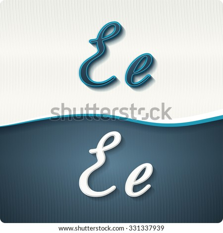 """The stylish white and blue italic letters of the alphabet, three-dimensonail, with shadows. The capital letters """"E"""" and lowercase """"e."""" Set, vector EPS10. - stock vector"""